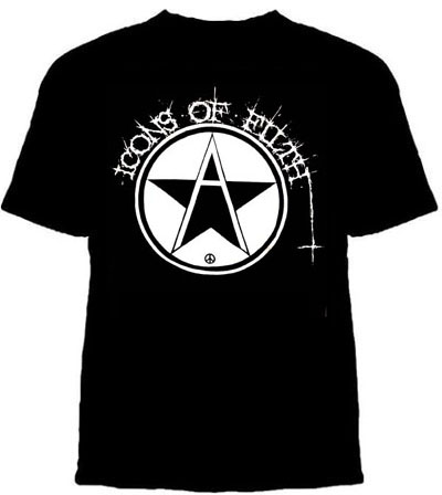 Icons Of Filth- Anarchy Symbol on a black YOUTH SIZED shirt (Sale price!)