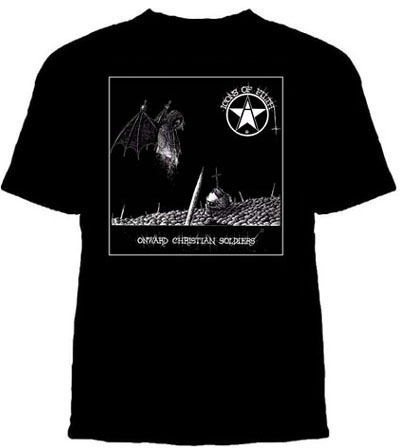 Icons Of Filth- Onward Christian Soldiers on a black shirt (Sale price!)