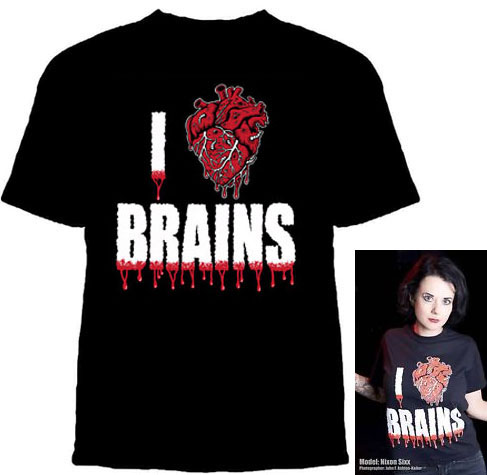 I Love Brains on a black YOUTH sized shirt