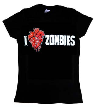 I Love Zombies on a black girls fitted shirt