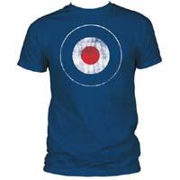 Distressed Mod Target on a blue ringspun cotton shirt