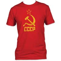 Distressed CCCP on a red ringspun cotton shirt