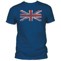 Distressed Union Jack on a navy ringspun cotton shirt (Sale price!)