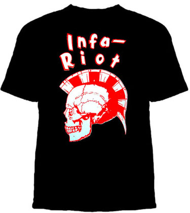 Infa Riot- Red & White Skull on a black shirt (Sale price!)