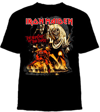 Iron Maiden- The Number Of The Beast on a black shirt