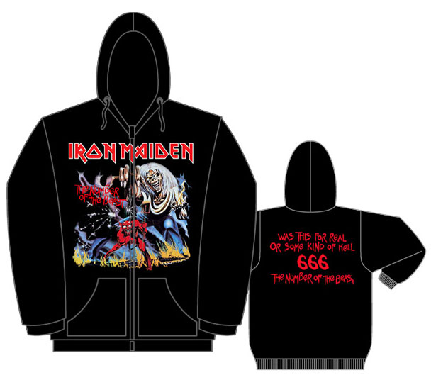 Iron Maiden- The Number Of The Beast on front, Quote on back on a black zip up hooded sweatshirt