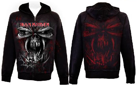 Iron Maiden- Large Skull on front & back on a black zip up hooded sweatshirt (Sale price!)
