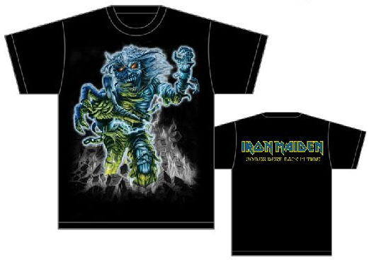 Iron Maiden- Jumbo Print Somewhere Back In Time Eddie on front, Logo on back on a black shirt (Sale price!)