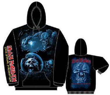 Iron Maiden- The Final Frontier (Front, Back & Sleeve Print) on a black hooded sweatshirt (Sale price!)