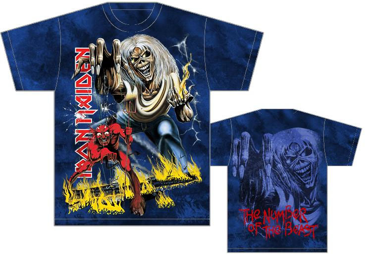 Iron Maiden- The Number Of The Beast Oversized Print (Logo On Side) on a black shirt
