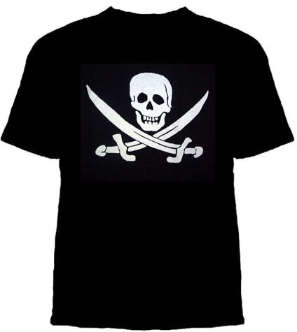 Pirate Shirt- Jack Rackam Skull And Sabres on a black girls fitted shirt - sz S only