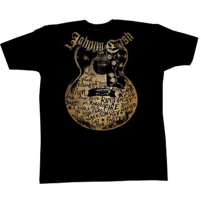 Johnny Cash- Neckline Logo & Guitar With Songs on a black shirt (Sale price!)