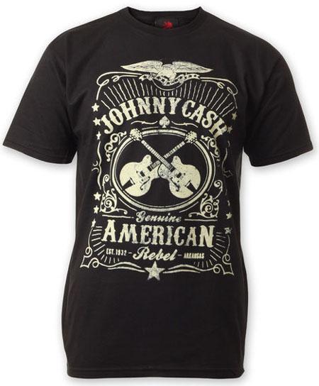 Johnny Cash- Genuine American Rebel (Crossed Guitars) on a black shirt (Sale price!)