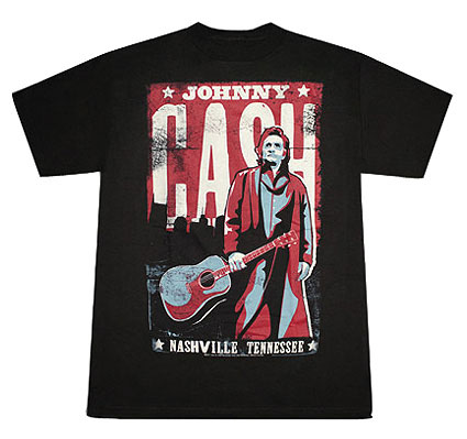 Johnny Cash- Nashville, Tennessee on a black shirt (Sale price!)