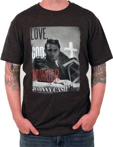 Johnny Cash- Love, God, Murder on a charcoal heather shirt (Sale price!)