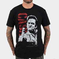 Johnny Cash- Finger (Close Up With Red Logo) on a black ringspun cotton shirt