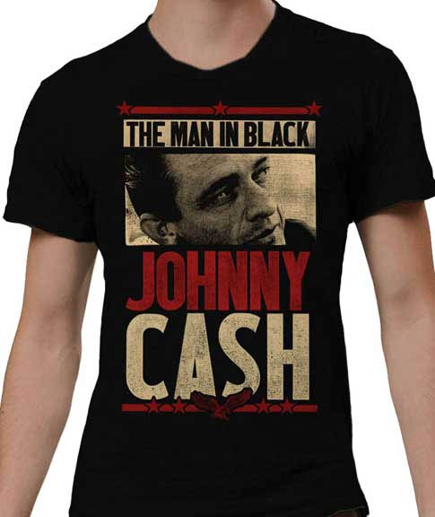 Johnny Cash- The Man In Black (Face & Eagle) on a black shirt (Sale price!)