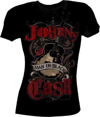 Johnny Cash- Man In Black on a black girls shirt (Sale price!)