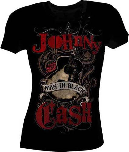 Johnny Cash- Man In Black on a black girls shirt (Sale price!)