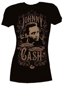 Johnny Cash- I Walk The Line on a black girls fitted shirt (Sale price!)