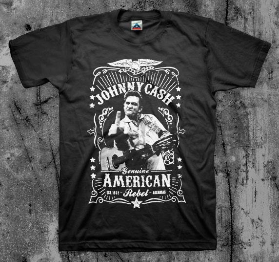 Johnny Cash- Genuine American Rebel (Finger) on a black shirt