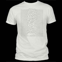 Joy Division- Unknown Pleasures (Light Grey Ink) on a vintage white ringspun cotton shirt