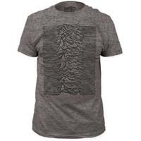 Joy Division- Unknown Pleasures on a heather grey tri-blend ringspun cotton shirt