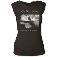 Joy Division- Love Will Tear Us Apart on a vintage black girls fitted cap sleeve shirt (Sale price!)