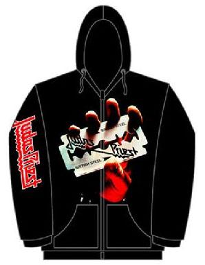Judas Priest- British Steel on front, Logo on sleeve on a black zip up hooded sweatshirt (Sale price!)