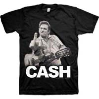 Johnny Cash- Finger (White Logo) on a black ringspun cotton shirt