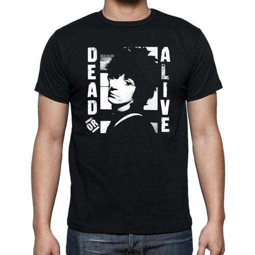 Johnny Thunders- Dead Or Alive (Face) on a black ringspun cotton shirt