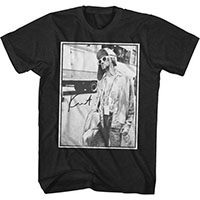 Kurt Cobain- Standing By Bus on a heather navy shirt