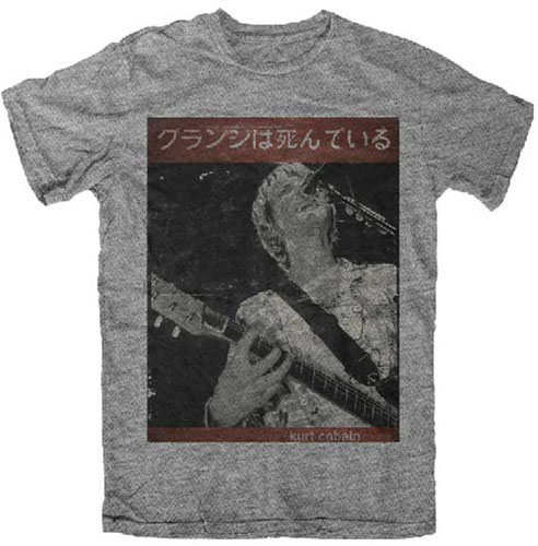 Kurt Cobain- With Guitar Japanese Pic on a heather grey shirt