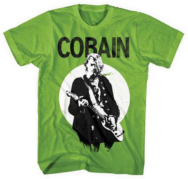 Kurt Cobain- Playing Guitar on a kiwi green shirt (Sale price!)