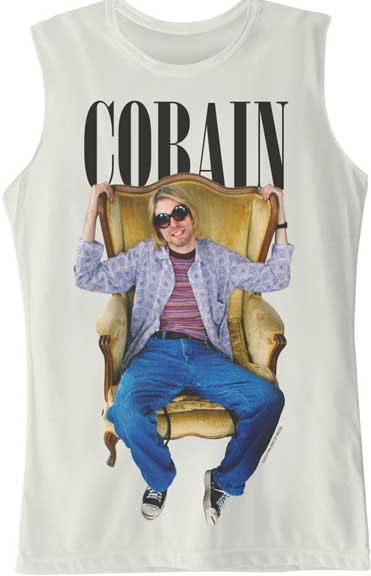 Kurt Cobain- Chair Pic on a white sleeveless girls shirt