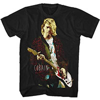 Kurt Cobain- Playing Guitar on a black shirt