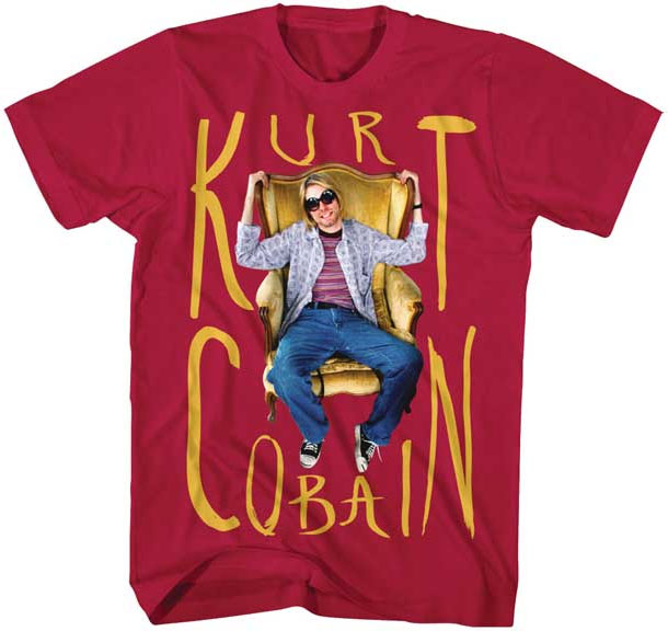 Kurt Cobain- Chair Pic on a cardinal red shirt