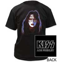 Kiss- Ace Frehley on front, Logo on back on a black shirt
