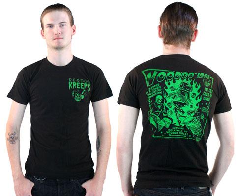 Kustom Kreeps Voodoo Idol on a black guys slim fit shirt by Sourpuss