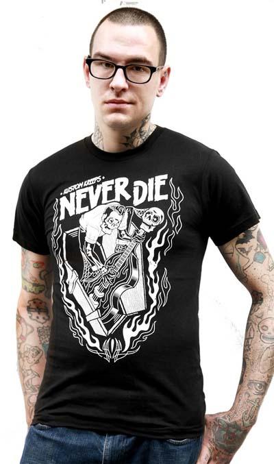 Kustom Kreeps Never Die on a black guys slim fit shirt by Sourpuss