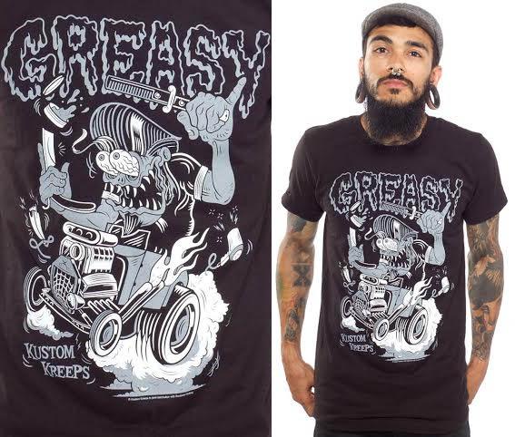 Kustom Kreeps Greasy on a black guys slim fit shirt by Sourpuss