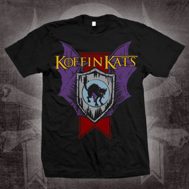 Koffin Kats- Shield on a black shirt (Sale price!)