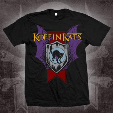 Koffin Kats- Shield on a black shirt (Sale price!)