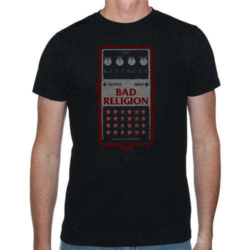 Bad Religion- Guitar Pedal on a black shirt