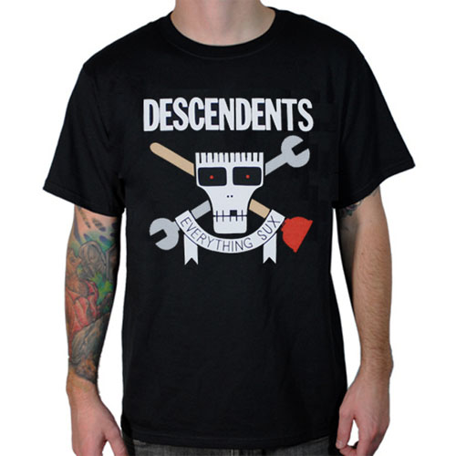 Descendents- Everything Sux (Plungers) on a black shirt