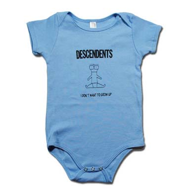Descendents- I Don't Want To Grow Up on a blue onesie (S:3-6m, M:6-12m, L:12-18m, XL:18-24m)