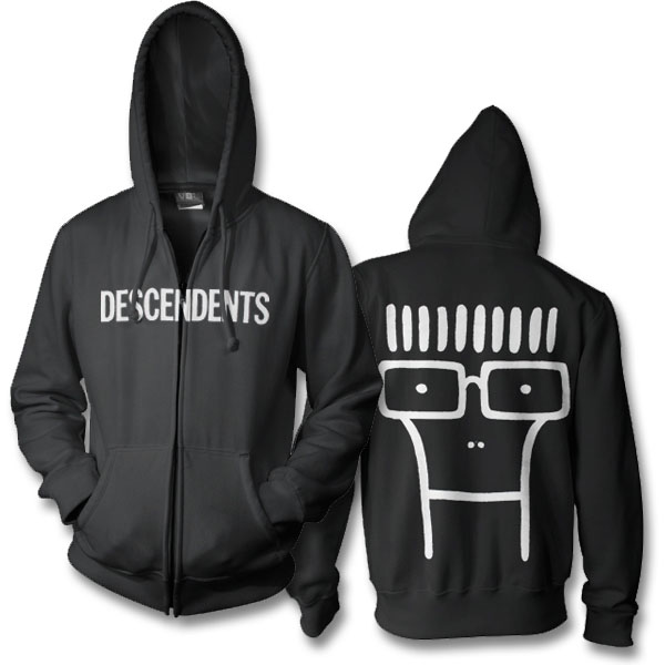 Descendents- Logo on front, Milo on back on a black zip up hooded sweatshirt