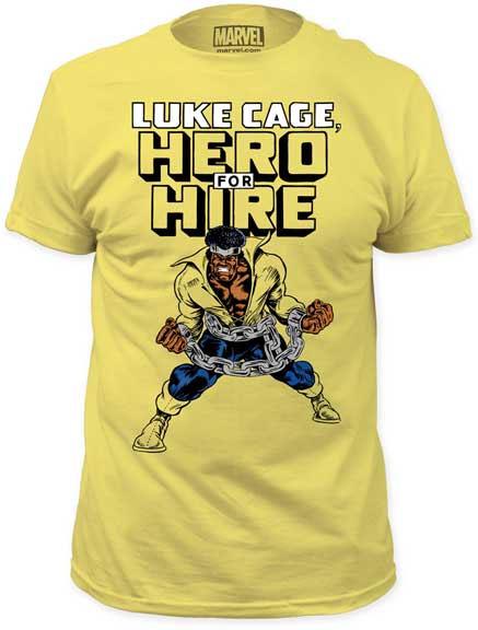 Marvel Comics- Luke Cage, Hero For Hire on a banana ringspun cotton shirt