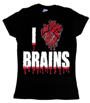 I Love Brains on a black girls fitted shirt