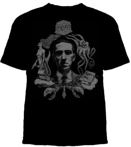 HP Lovecraft- 1890-1937 on a black shirt